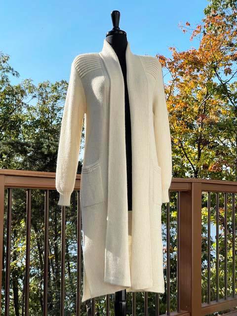 Alpaca Long Sweater Duster - Cream