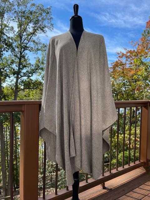 Womens 100% Royal Alpaca Cape - Warm Grey