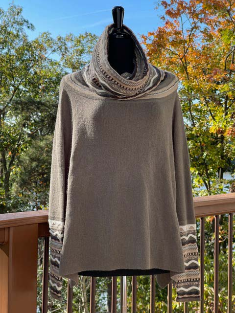 Women's Wide Turtleneck Long-Sleeve Sweater - Muted Greens and Earthtones