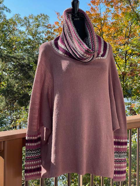 Women's Wide Turtleneck Long-Sleeve Sweater - Plums and Purples
