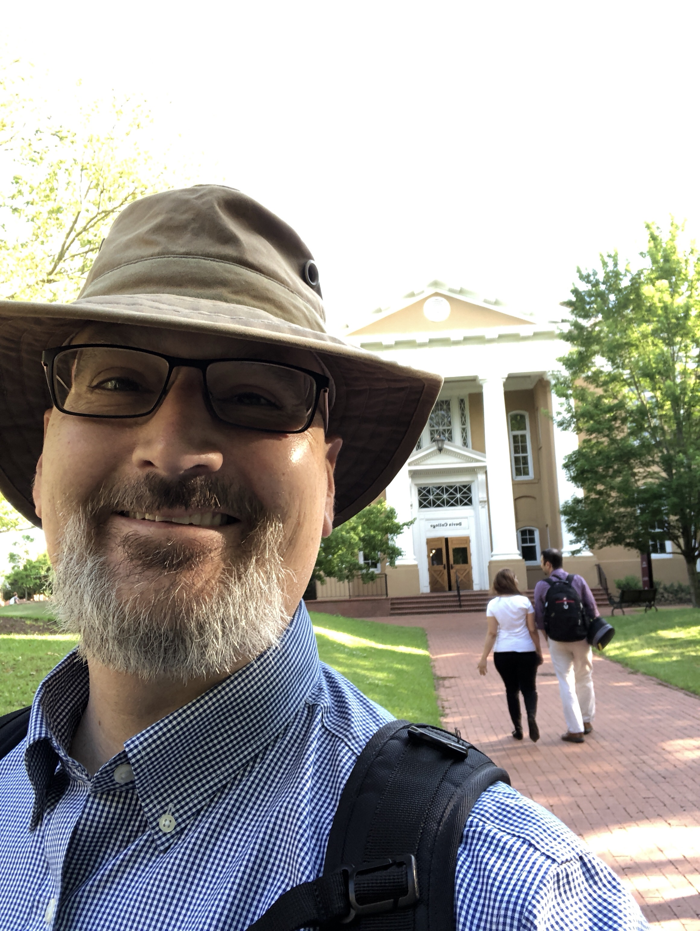 David in front of Davis College