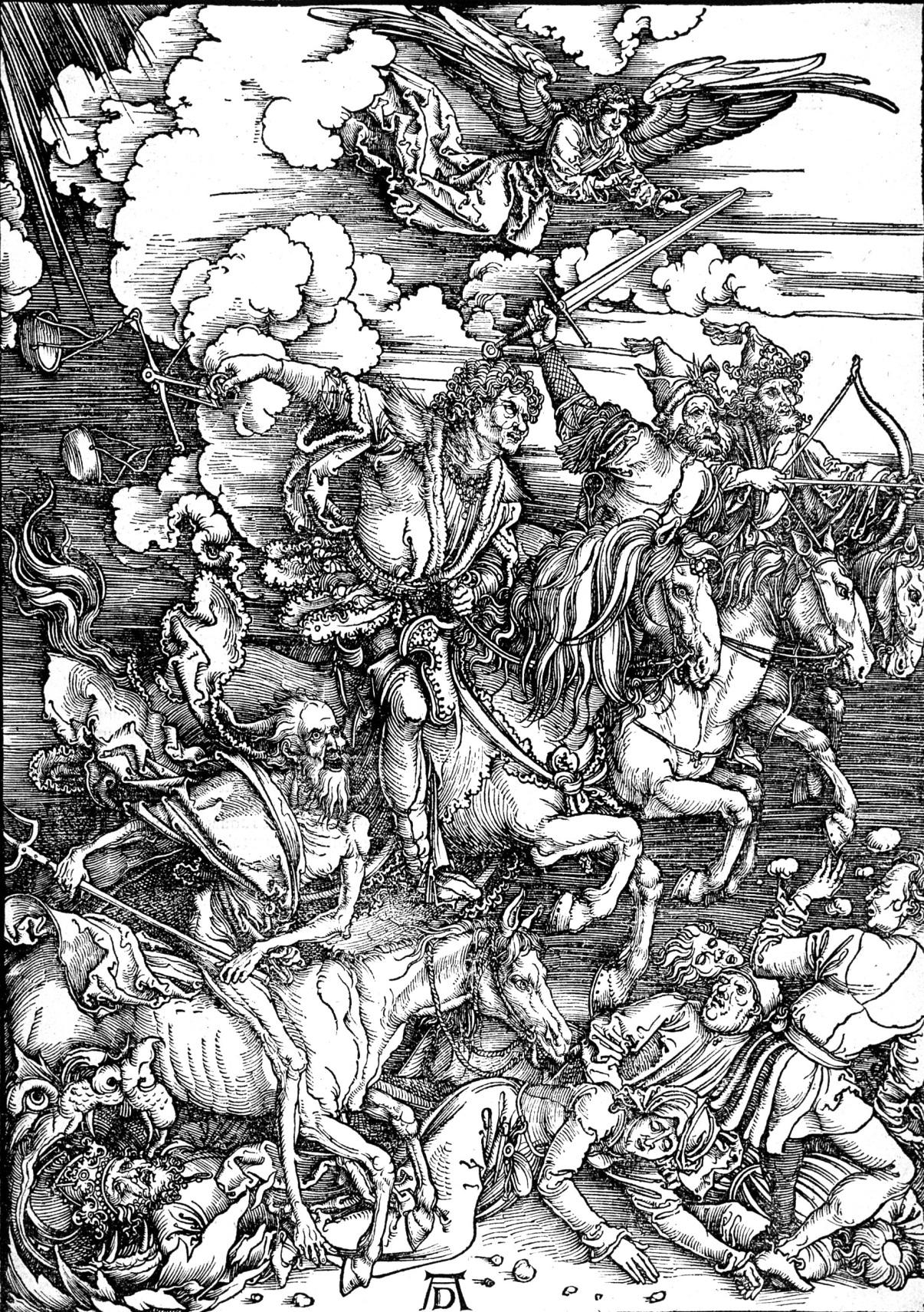 Dürers, Albrecht. Die Offenbarung des Johannes: 4. Die vier apokalyptischen Reiter, 1497-1498.