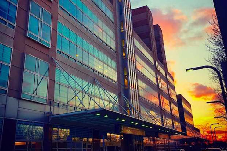 outside of Stroger Hospital at sunset