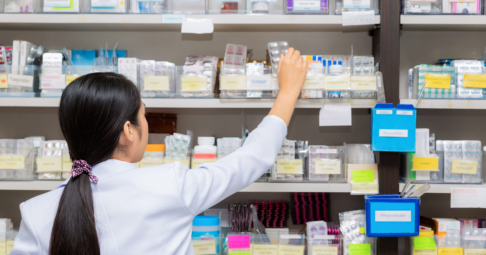 Pills on the Shelf of a Pharmacy