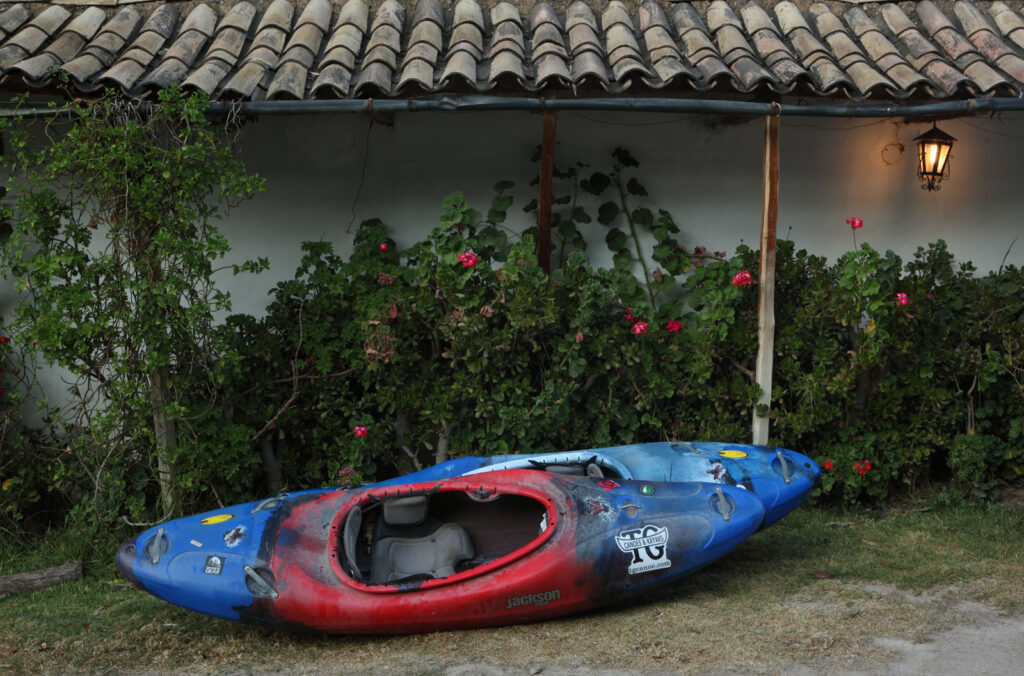Amazon Express expedition white water kayaks sit in the courtyard of Hacienda Santa Maria during and overnight stop in Tarma, Peru as the team heads to the source high in the Andes mountains.  Amazon Express expedition in Tarma, Peru August 16, 2012.    Photo by Erich Schlegel