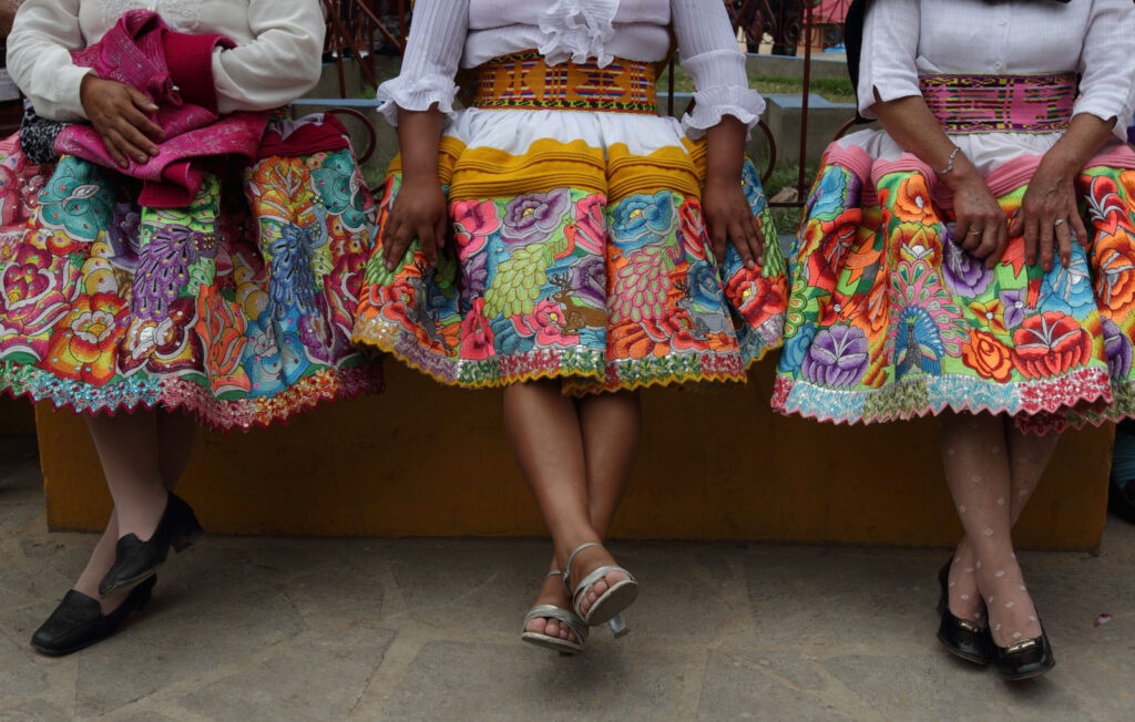 "Izcuchaca women wear typical embroidered dresses, called ""Fustanes"", made especially for the celebration of the patron saint Santiago throughout the month of August in the Huancavelica region of Peru.  Amazon Express expedition in Peru August 26, 2012.    Photo by Erich Schlegel"