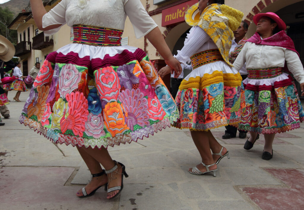 "Izcuchaca women wear typical embroidered dresses, called ""Fustanes"", made especially for the celebration of the patron saint Santiago throughout the month of August in the Huancavelica region of Peru.  Amazon Express expedition in Izcuchaca, Peru August 26, 2012.    Photo by Erich Schlegel"