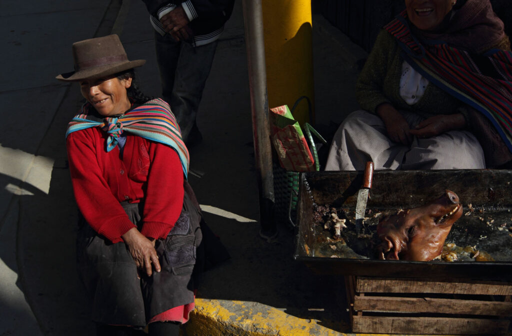 Jacinta Berrocal de Perez, 54, sits by her friend Justonata Campos Palomino, 80, selling pig head in the main plaza of Colcobamba, Peru.  Amazon Express expedition in Sala de Maquinas in Campo Armi–o, Peru August 31, 2012.    Photo by Erich Schlegel