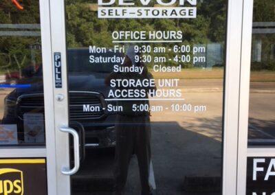 Entrance door vinyl lettering