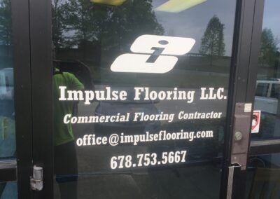 Impulse Flooring Glass door graphics