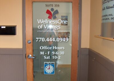 Wellness One glass door graphics