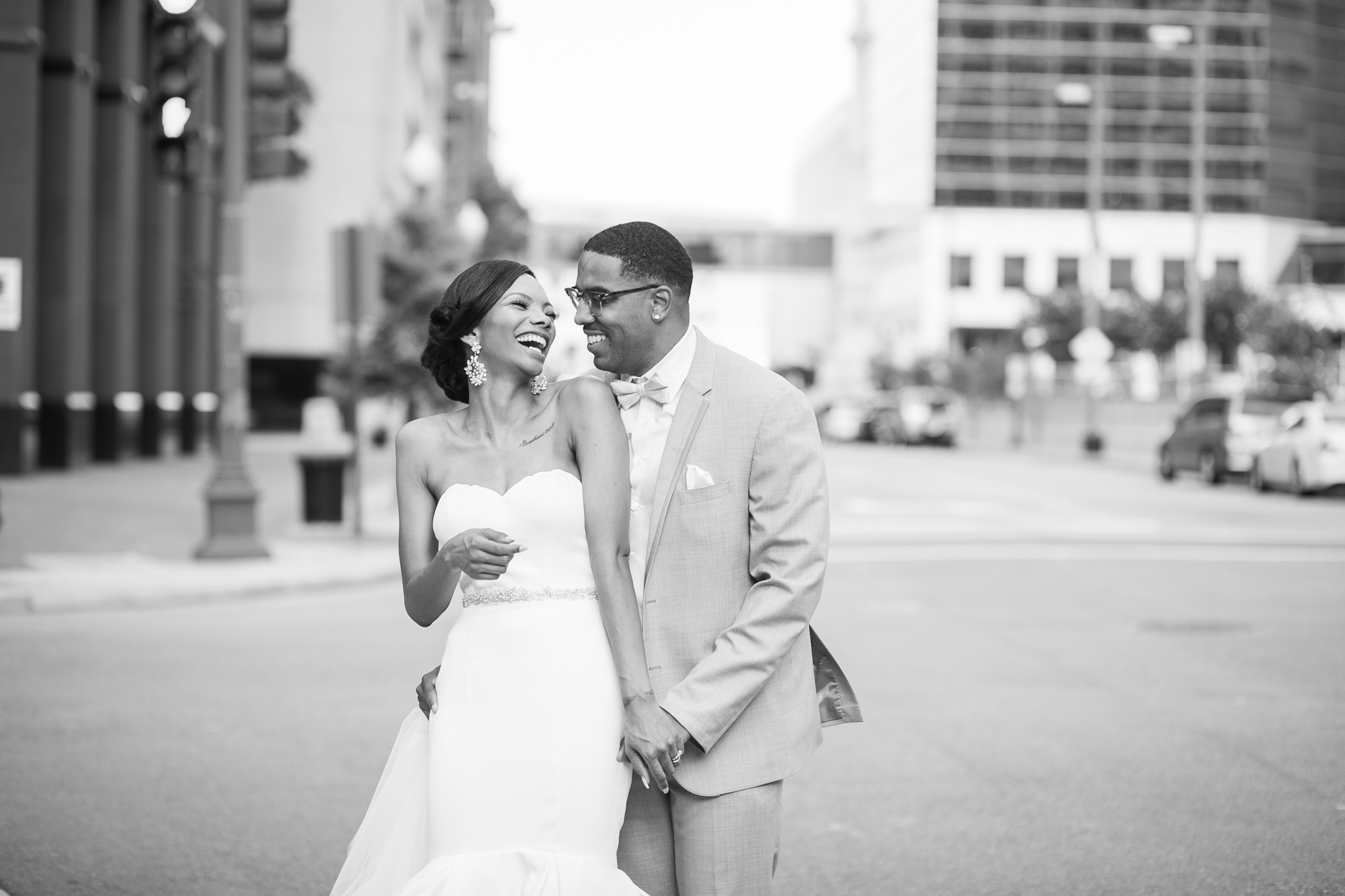 bride and groom in downtown Norfolk