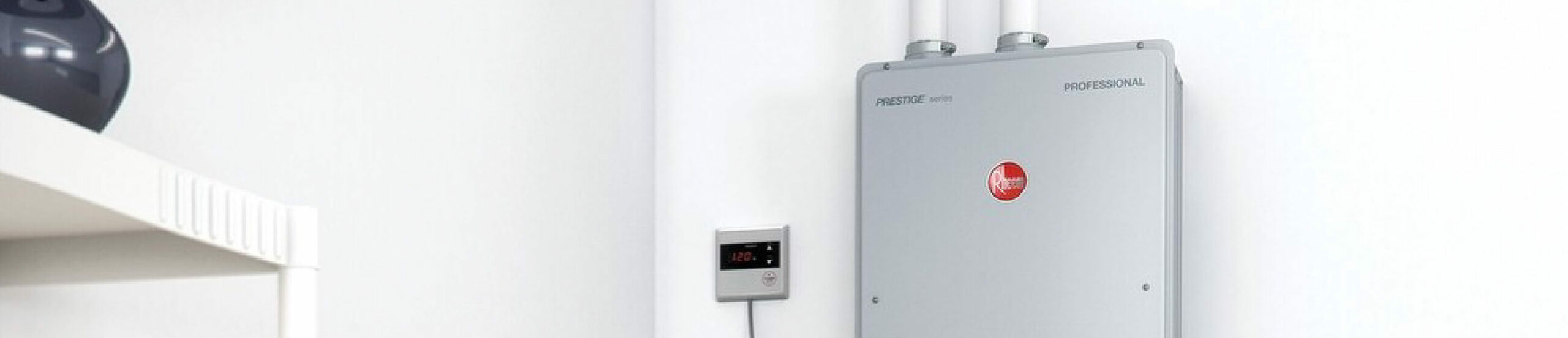 Rheem Tankless Water Heater on the wall of a home