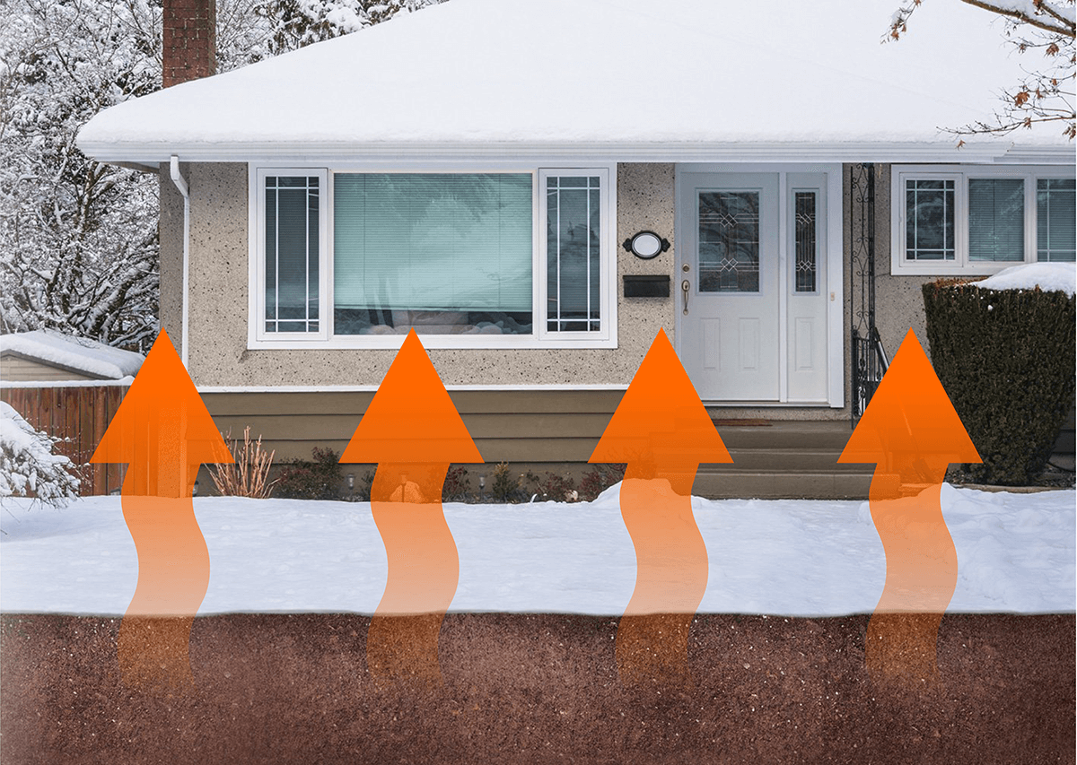 A home covered with snow with arrows pointing up from the ground, depicting how Geothermal heat pump would draw from an underground reservoir of heat to warm the home.
