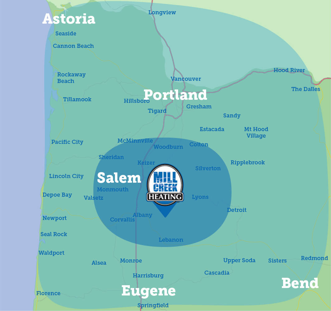 Map depicting the Mill Cree Service area. A smaller radius for residential service is around Salem, Oregon. A larger radius depicting commercial service includes the entire Willamette Valley and extends north to Portland, OR and Astoria, OR, and extends south to Eugene, OR and as far east as Bend, OR.