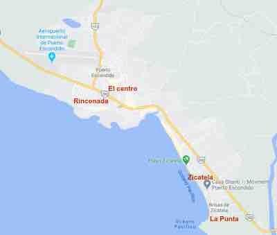 Map of areas in Puerto Escondido, Oaxaca
