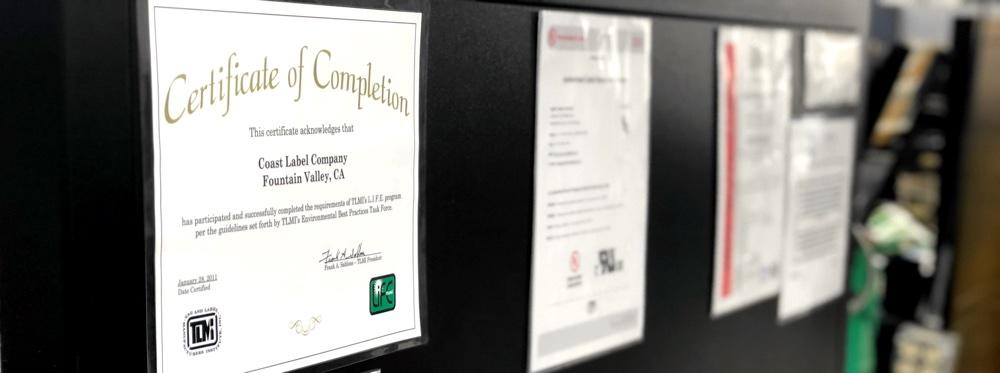 Coast Label Company's L.I.F.E.® Certification