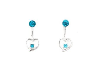 Starlet Shimmer Earring Post Me A Floating Heart-Blue O127