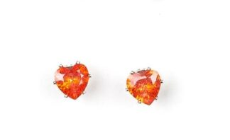 Starlet Shimmer Earring Post me a Heart Gem - Orange -O130