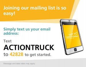 Join our Mailing list through text messages.