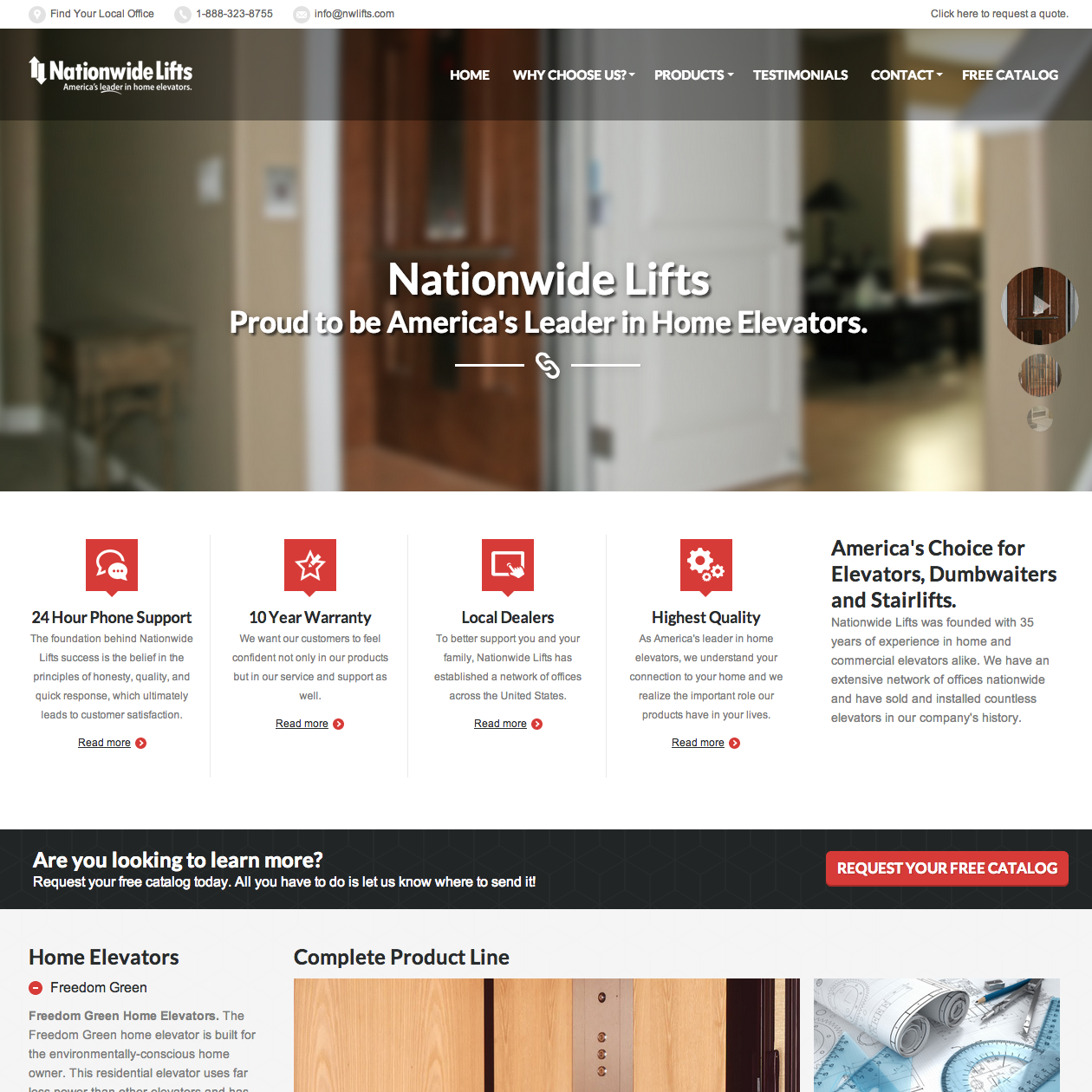 Nationwide Lifts Website Design Screenshot