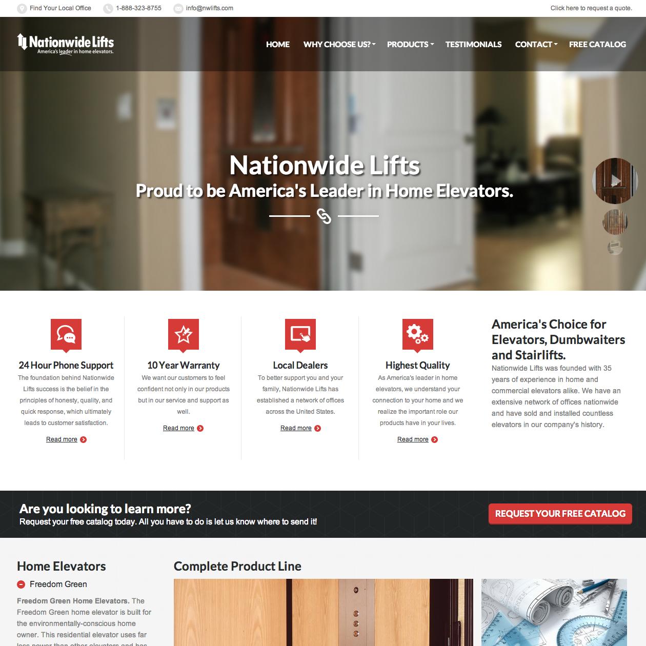 Nationwide Lifts Website Design Screenshot