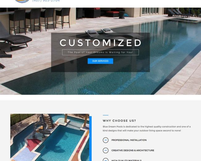 Blue Dream Pools – Website Design