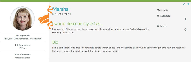 Buyer Persona Example with Marsha