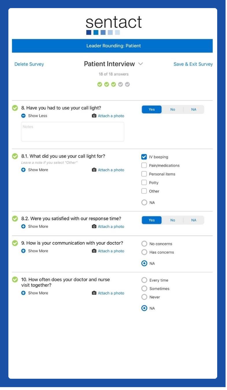 Patient Interview screen