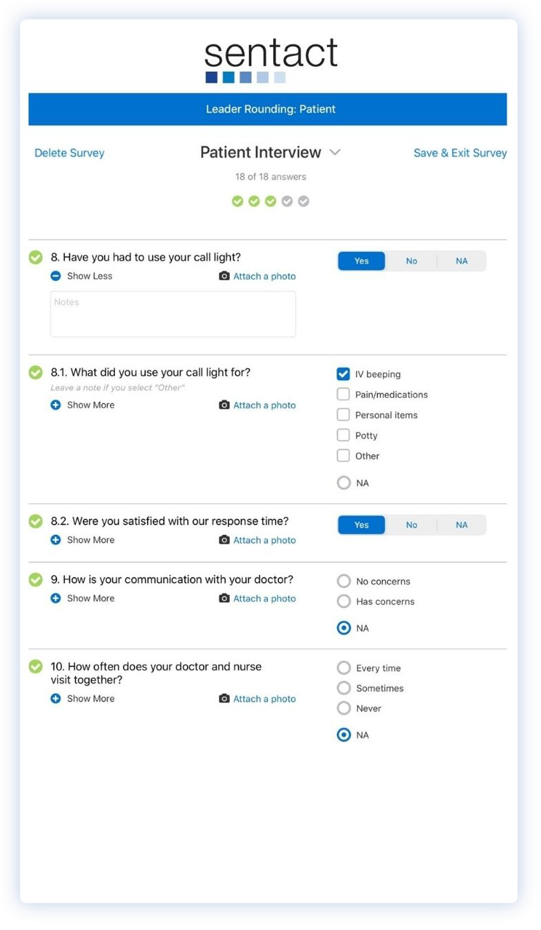 Patient Interview screen