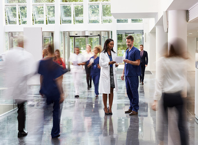 modern hospital lobby