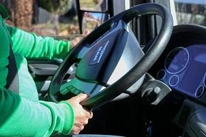 trucker and steering wheel