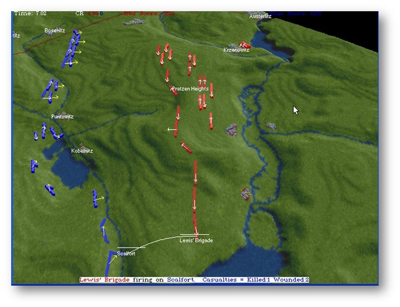 Screen shot (MS DOS) of the Austerlitz scenario in The War College. Click to enlarge.