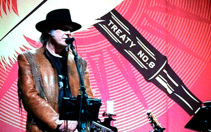 Neil Young addresses media on his last concert stop in Calgary.