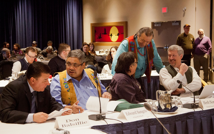 Dene National Chief Bill Erasmus talks to Dehcho Grand Chief Herb Norwegian and lawyer Larry Innes.