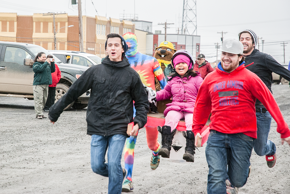 The Honey Bucket Race was held in Inuvik on Saturday for the first time since the mid-'90s. Organizer Dez Loreen said he hopes to make it an annual event again in town. It was also a fundraiser, raising $137 for the Inuvik Homeless Shelter. Two teams raced, Parks Canada and Inuvik Comedy (the one pictured here). From left to right: Jozef Semmler, Chris Church, Paige Loreen, Ryan Ballas-Kuzman and Brandon Larocque.