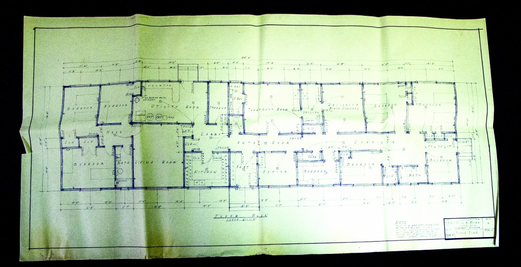 These original blueprints of the 1965 hospital were just one of the archives on display for the public last weekend. Other artifacts included photographs, news clippings, old medical equipment and financial papers.