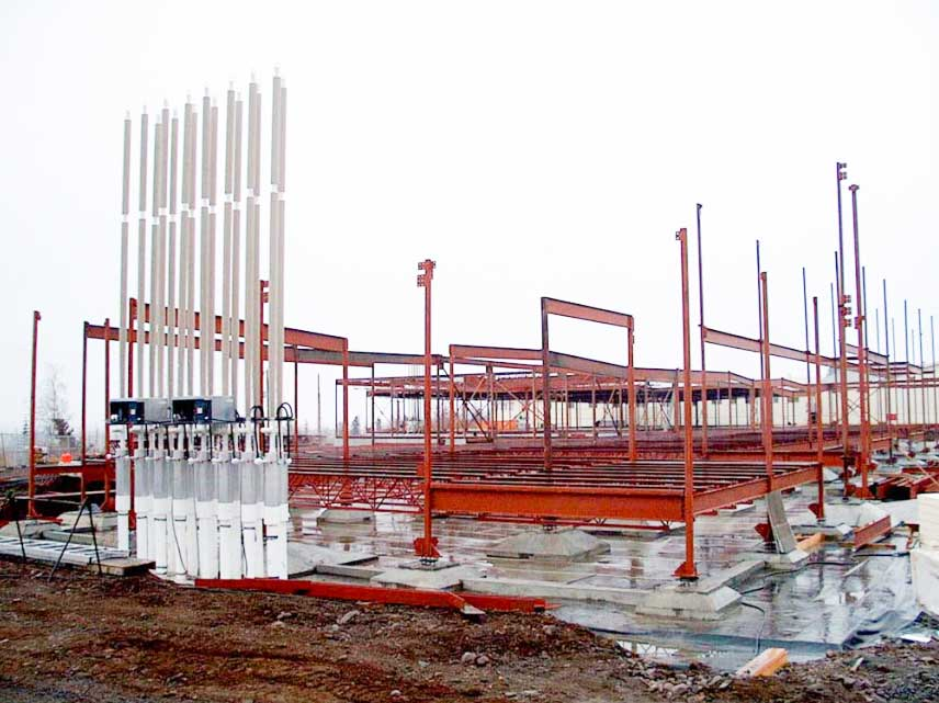 A thermosyphon system installed in the foundation of the Inuvik Regional Hospital.