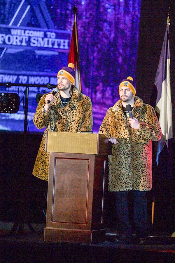 Eddie Smith, left, and Steve Campbell emcee the Hay River Arctic Winter Games pep rally last year, in a successful attempt to woo the AWG international committee.