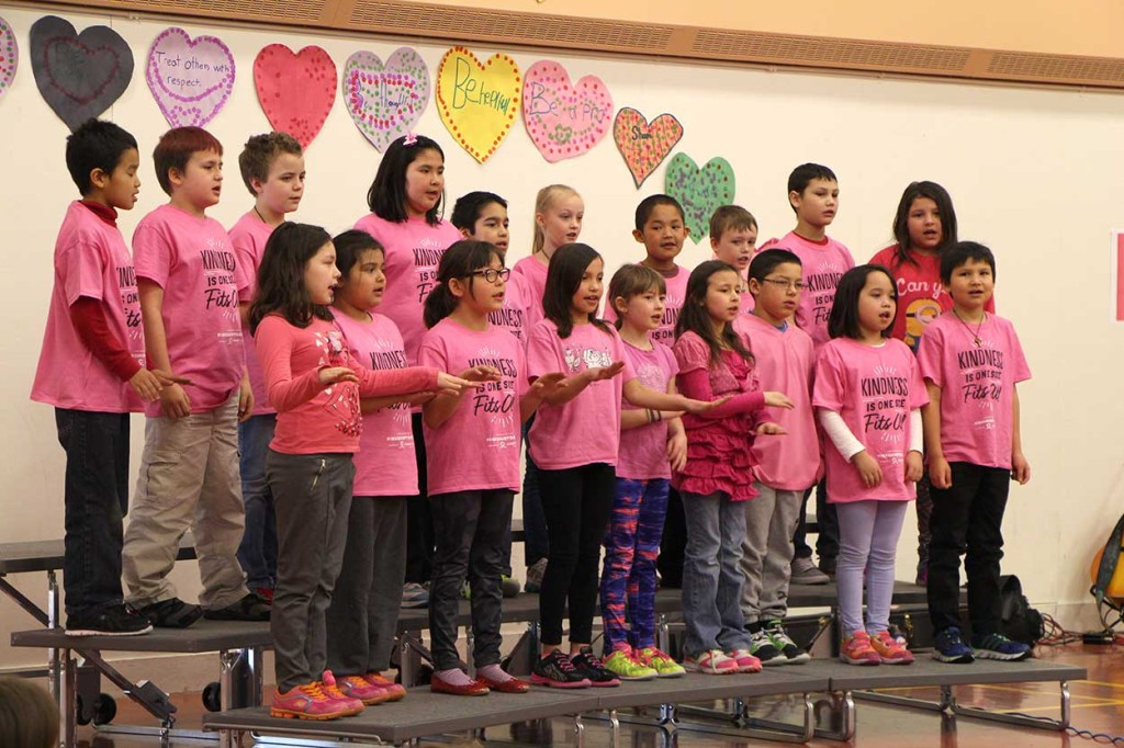 Janet Bell's Grade 3 class sang a song about treating others with love and respect during a Pink Shirt Day assembly on Feb. 23.