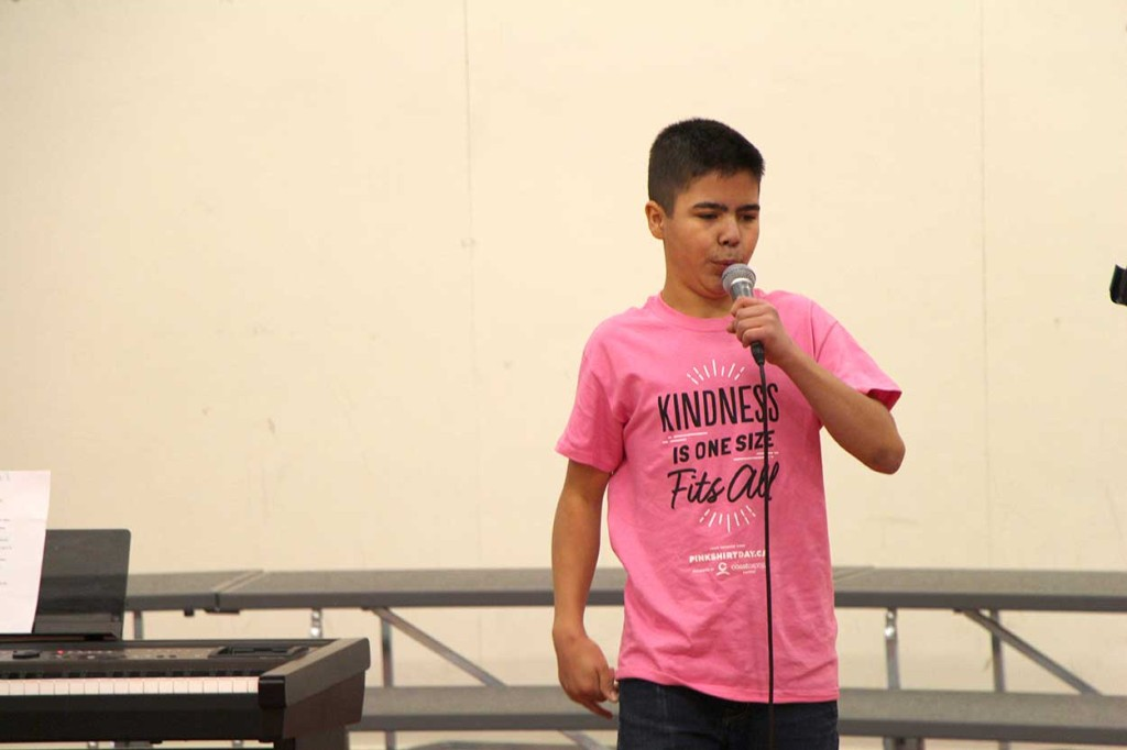 PWK High School student Jomei Newkirk performed an original anti-bullying rap he wrote as a 10-year-old at JBT Elementary School during a Pink Shirt Day assembly on Feb. 23.