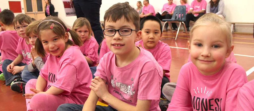JBT Elementary School students donned their pink shirts a day early on Feb. 23 for a special visit from NWT Commissioner George Tuccaro.