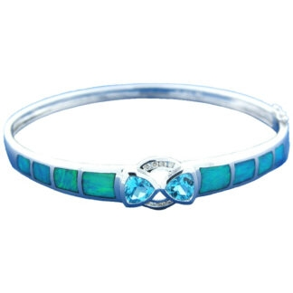 Bangle with Inlaid Opal, Diamonds & Blue Topaz in 14KT Gold