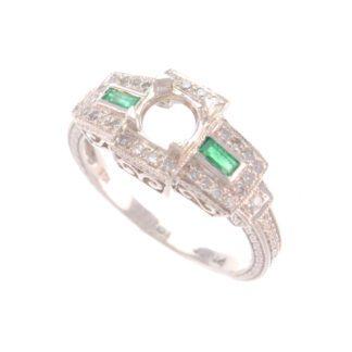 PS2200E Art Deco Emerald & Diamond Semi Mount in Platinet