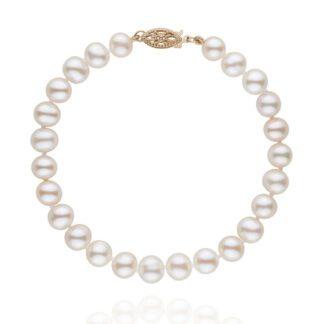 Fresh Water White Pearl Bracelet in 14KT Gold