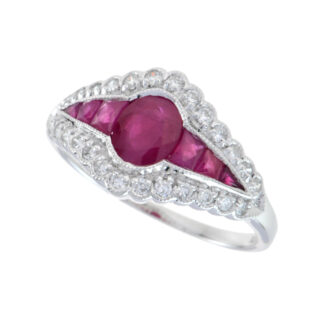 12617R Antique Ring with Ruby & Diamonds in 14KT Gold