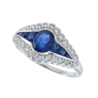 12617S Antique Ring with Sapphire & Diamonds in 14KT Gold