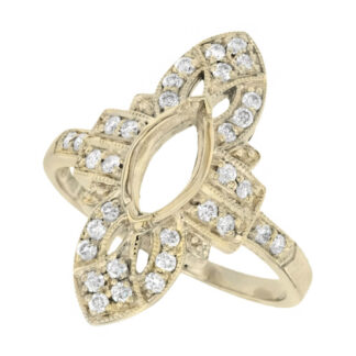 251617-Y Art Deco Semi mount with Diamonds in 14KT Gold