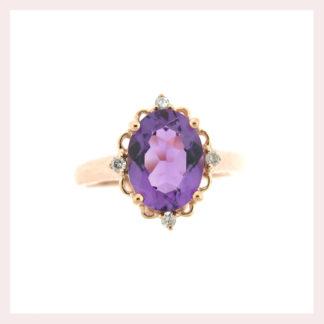 Amethyst & Diamond Ring in Gold