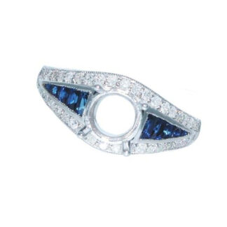 PS76S Vintage Sapphire & Diamond Semimount in Platinet